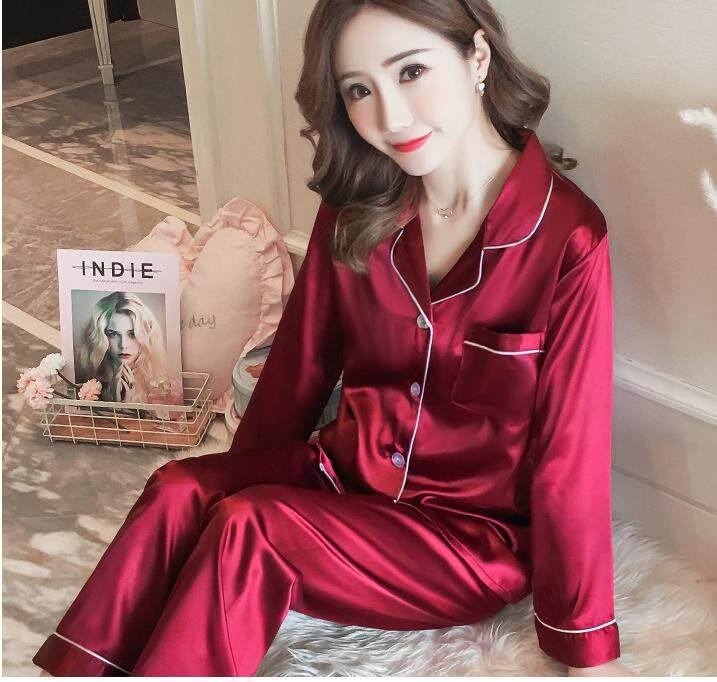 c3e61f569e Bolster Store Ladies Women Loose Satin Blouse Long Pants Set Comfortable  Night Wear Pajamas