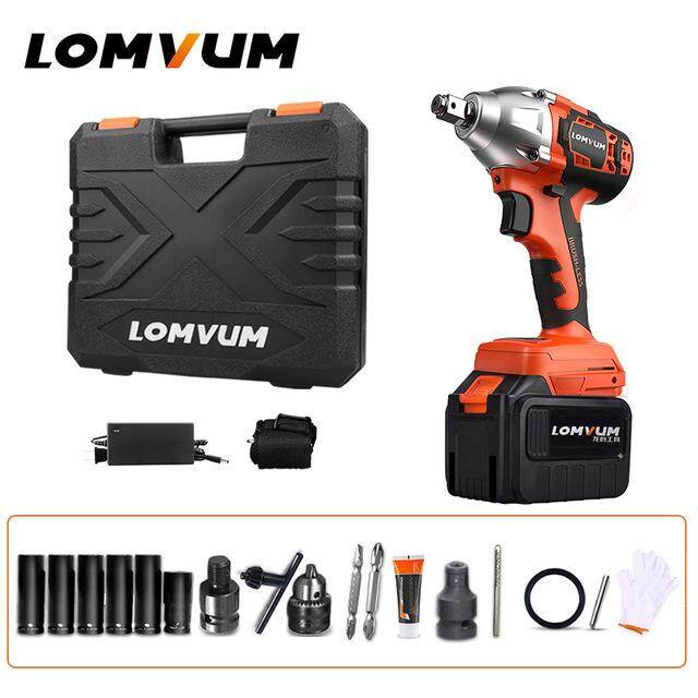 LOMVUM Brushless Electric Wrench Impact 320N.M Wheel Tool Cordless Electrical Wrench Screwdriver Nut Spanners Car Reparing Tools