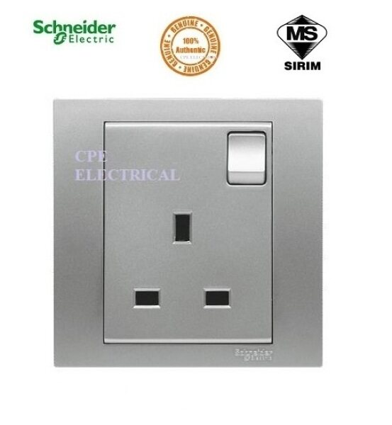 Schneider Vivace 13A 1 Gang Switched Socket - Aluminium Silver