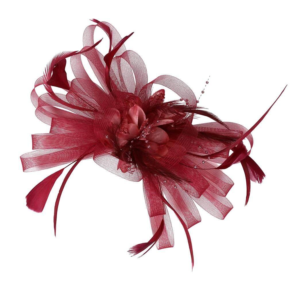 New Floral Design Feather Detail Ladies Fascinator Clip Race Ascot Royal