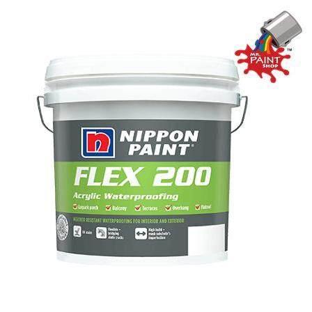5KG NIPPON FLEX 200 - WHITE / GREY (ACRYLIC WATERPROOFING)