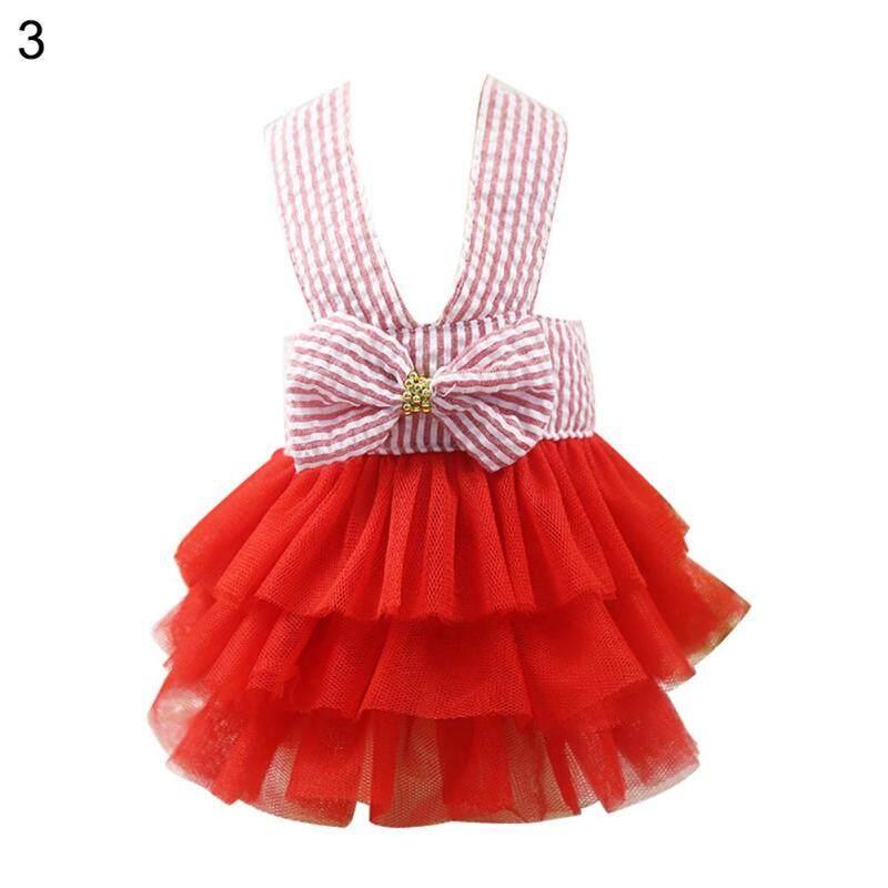 Zhuixun®Pet Tutu, Đầm Vải Tuyn Kẻ Sọc Thắt Nơ Thời Trang Cho Chó Mùa Hè Quần Áo Con Chó Con
