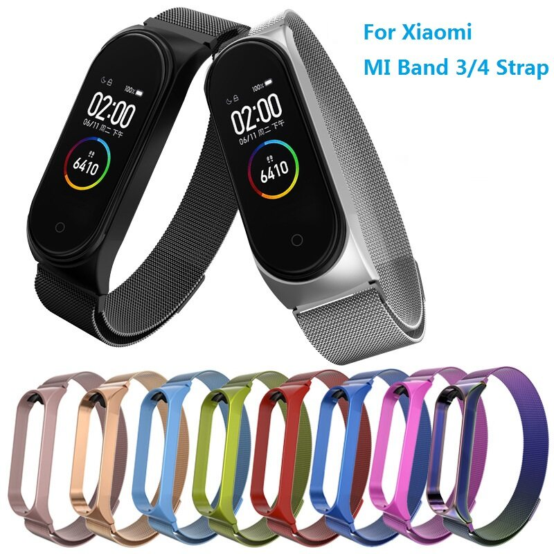 Basspal Fashion Milanese Magnetic Stainless Steel Watch Band Strap For Xiaomi Mi Band 3 Watch Band For Xiaomi Mi Band 4.