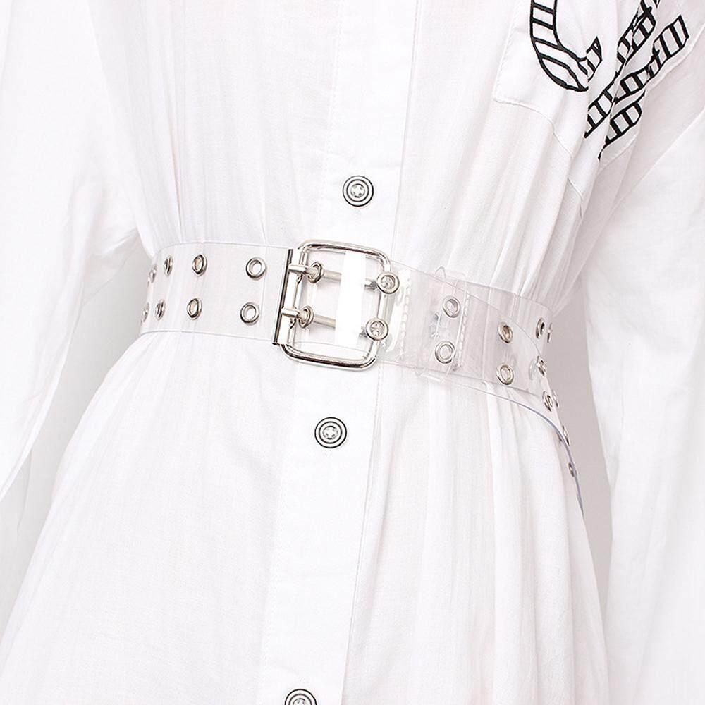 Giá bán Dây Nữ Thời Trang Hai Hàng PVC Khóa Pin Kép Kim Loại Lỗ Thời Trang Nữ Eo Trắng Trong Suốt Thắt Lưng Nữ Đầm Jeans dây Thắt Lưng Dây