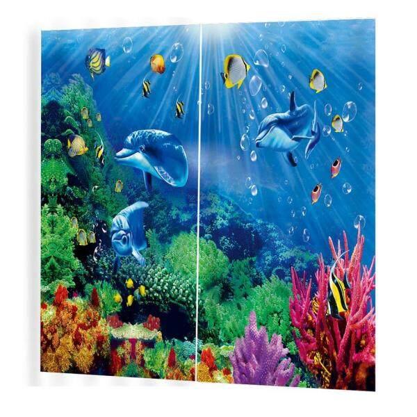 Hot Sellers Ocean Prints Curtains Room 3d Curtain Window Drapes BJQ-1280(2)170*200cm Trendy Living Room Bedroom Blackout