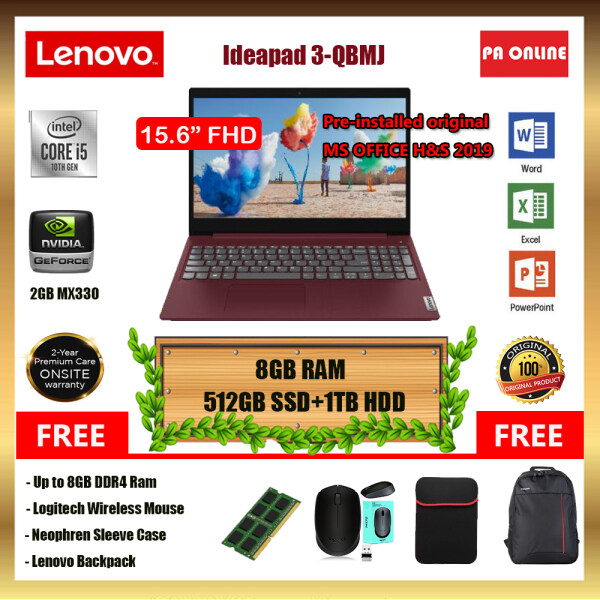 Lenovo Ideapad 3 15IIL81WE00QBMJ (20GB RAM) -Intel Core i5-1035G1 /8GB-20GB RAM /512GB SSD+1TB HDD/15.6 FHD/ 2GB NVD MX330 /Win 10 /MS Office /2 Years Malaysia