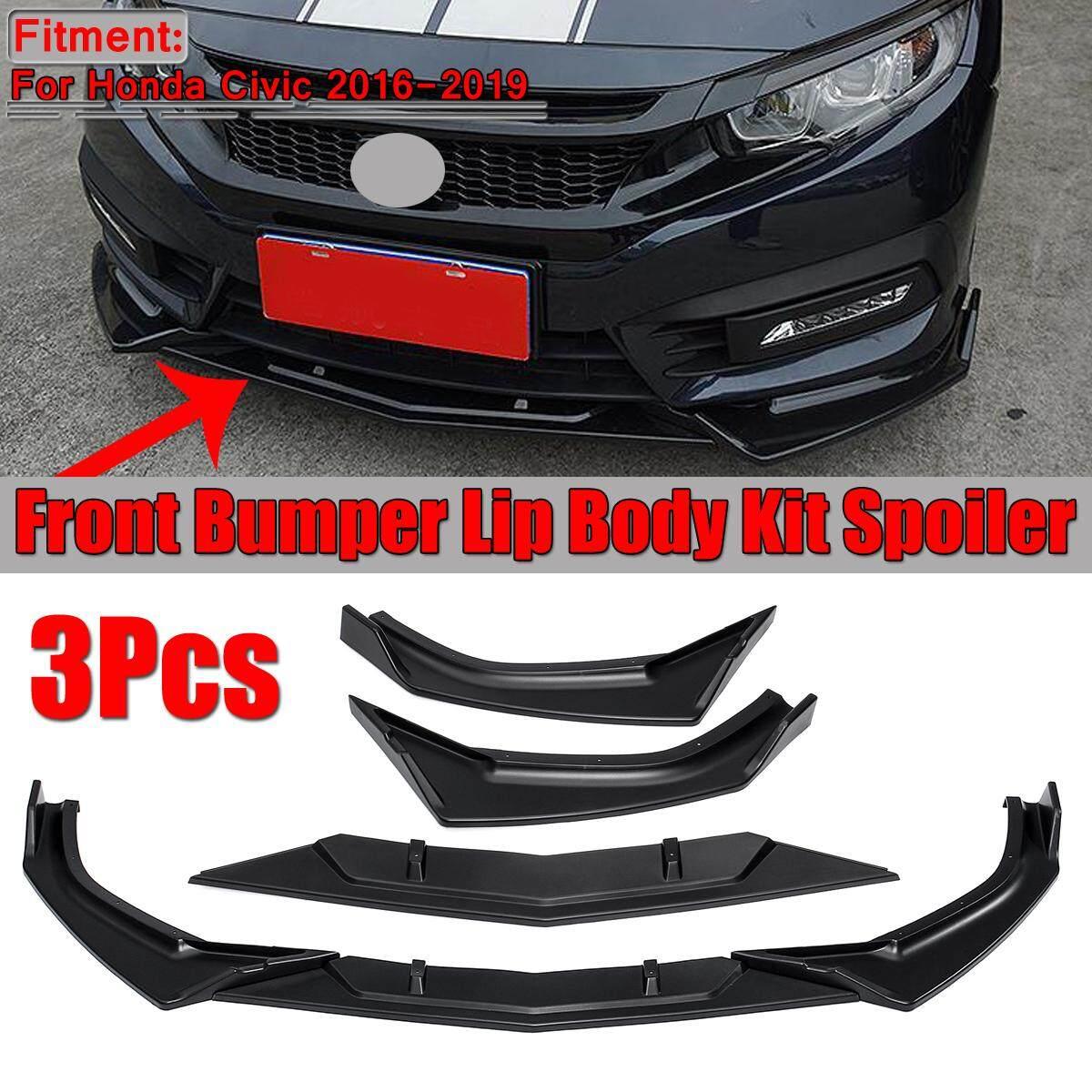 3x Front Bumper Chin Diffuser Lip Body Kit For Honda Civic 2016-2018 Gloss Black