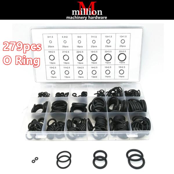millionhardware - 279pcs 18 Sizes Rubber Sealing O-Ring / O Ring Assortment Washer Set Hydraulic Plumbing Gaskets Seal Kit With Box