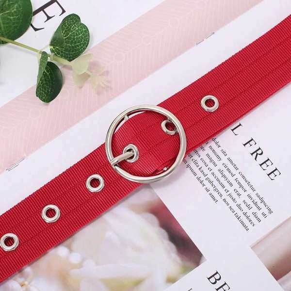 Giá bán New hollow round button eyelet belt Korean style trendy jeans personality fashion decoration ladies canvas belt