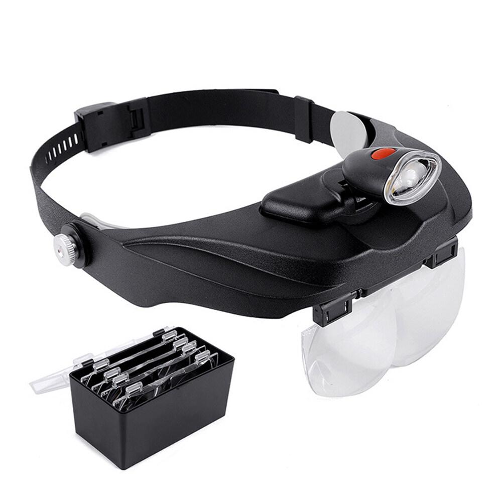 Vinv Hands Free Headband Magnifier LED Illuminated Visor Glasses 4 Detachable Lenses Magnifying for Processing Repairing Engraving