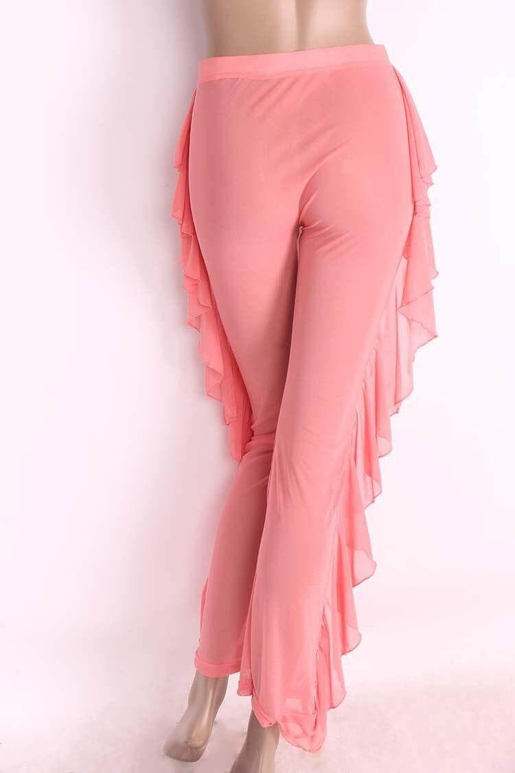 2b561f48019ed New Sexy Ruffle Women Beach Mesh Pants Sheer Wide Leg Pants Transparent See  through Sea Holiday