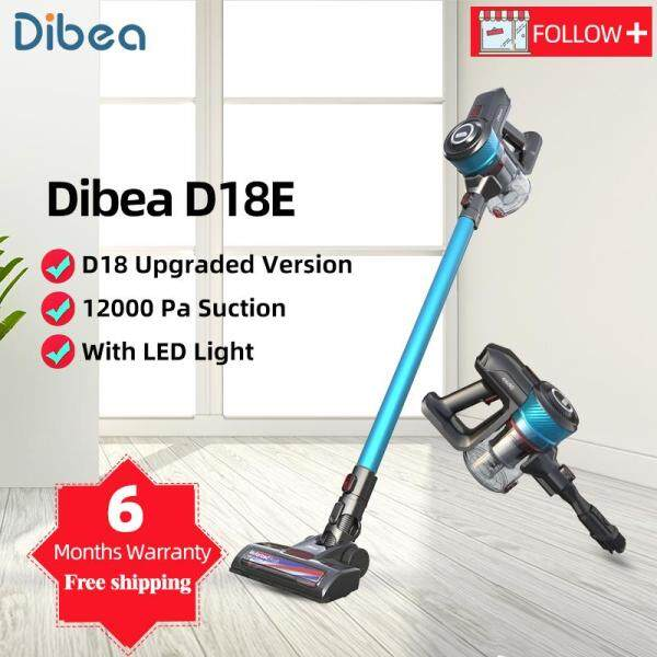 [6 Months Warranty] Dibea D18E Protable 2 In 1 Handheld Wireless Vacuum Cleaner Cyclone Filter 12000 Pa Strong Suction Dust Collector Aspirator [With local plug adapter] Singapore
