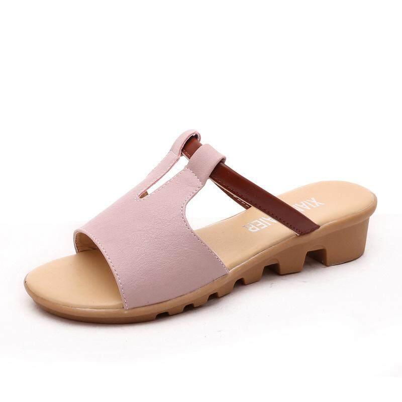 81ef1b8e3b3 Female Sandals 2019 Summer Korean Daily Casual Simple Pure Color Beach  Women s Slippers