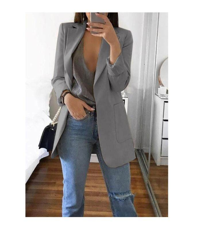6c4000de49f Fashion Women Office Suit Solid Color No Button Lapel Slim Fit Blazer Coat