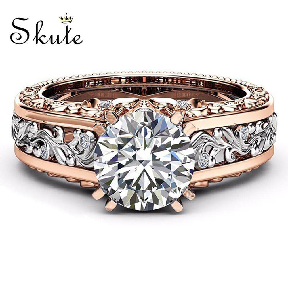 0a53293595 ❤SKute Jewelry White Crystal Diamond Engagement Ring 14K Rose Gold and  Sterling Silver Wedding Bridal