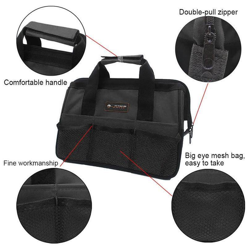 1Pcs 31x18x22cm Black Canvas Top Wide Mouth Tool Bag Portable Nylon Canvas Storage Bag