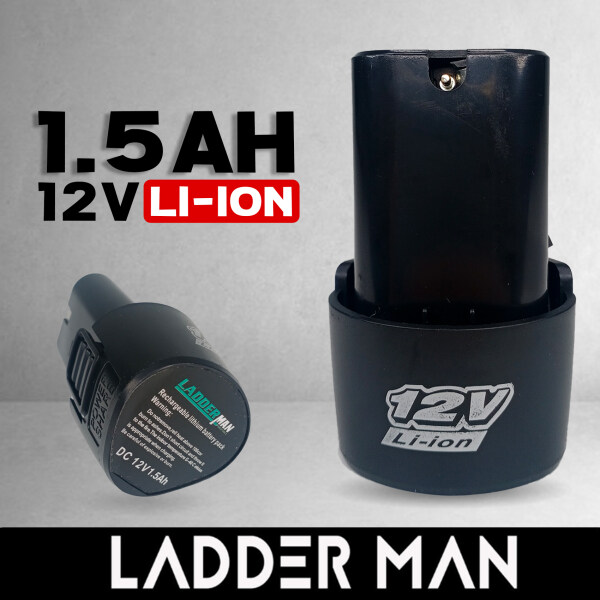 LADDERMAN 1.5AH 12V LI-ION RECHARGEABLE CORDLESS DRILL BATTERY FOR 12V CORDLESS DRILL
