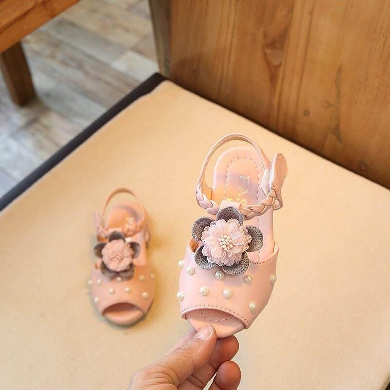 Giá bán Giày Sandal Kết Hoa Giày Cho Bé Mùa Hè PU Hoa Bé Dép Bé Gái Thời Trang Chống Trượt Đan Bãi Biển Cát Thoải Mái Dép Bé Gái