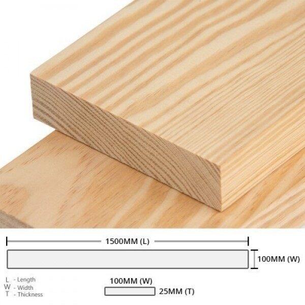 Pine Wood Timber Rectangular Rough Sawn (RS) 25MM (T) x 100MM (W) x 1500MM (L) 5PCS (Wood Pallet)