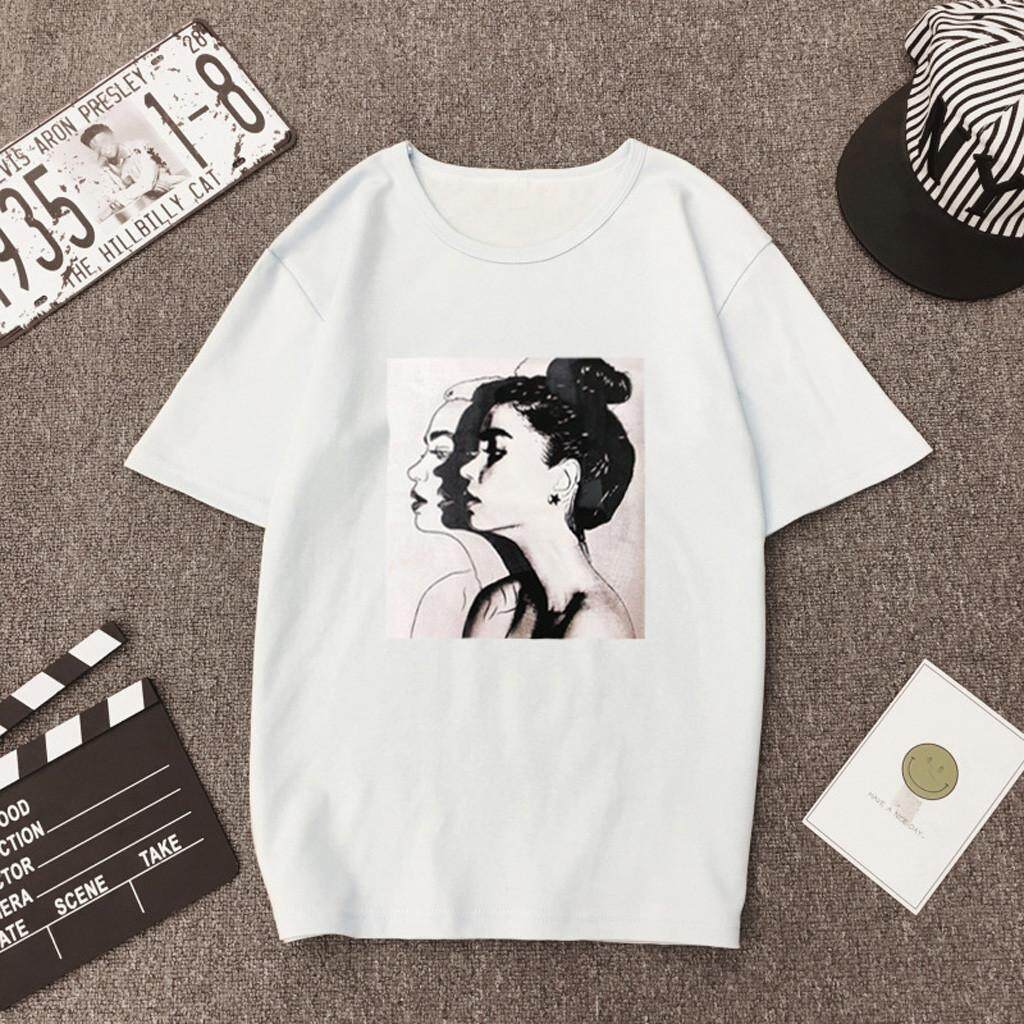 0c37141b80a9 Women Summer Fashion Casual Print Short Sleeve Blouse Loose Top T-Shirt  Plus Size Loose