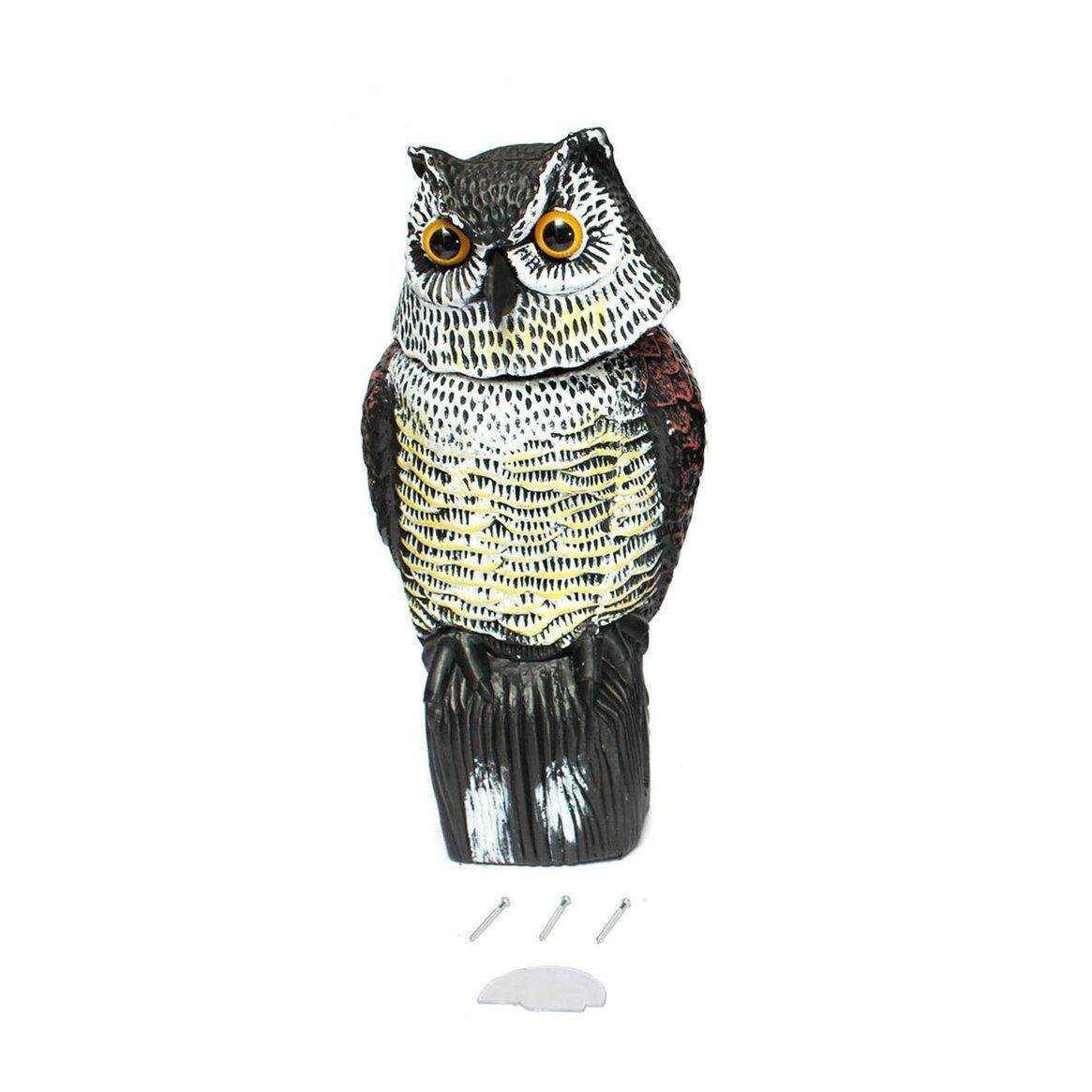 DOIT Rotating Head Owl Decoy Garden Protection Repellent Bird Pest Scarer Scarecrow
