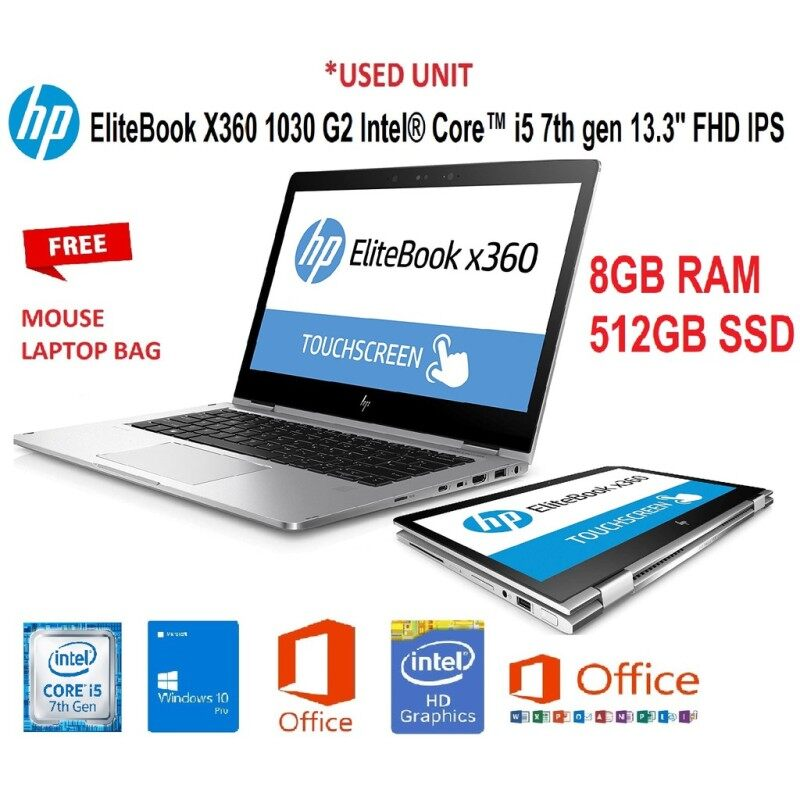 HP ELITEBOOK X360 1030 G2 ULTRABOOK TOUCHSCREEN / 13.3 INCH IPS  FHD DISPLAY / 2-IN-1 CONVERTIBLE SPECTRE DESIGN FOR  WORK AND PLAY  / CORE i5-7TH GENERATION / 8GB DDR4 RAM / 512GB SSD / WINDOW 10 / 6 MONTHS WARRANTY  [ #LAPTOP ] Malaysia
