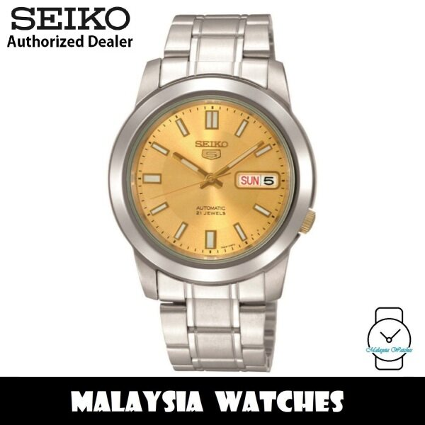 Seiko 5 SNKK13K1 Automatic See-thru Back Gold Dial Silver-Tone Stainless Steel Mens Watch Malaysia