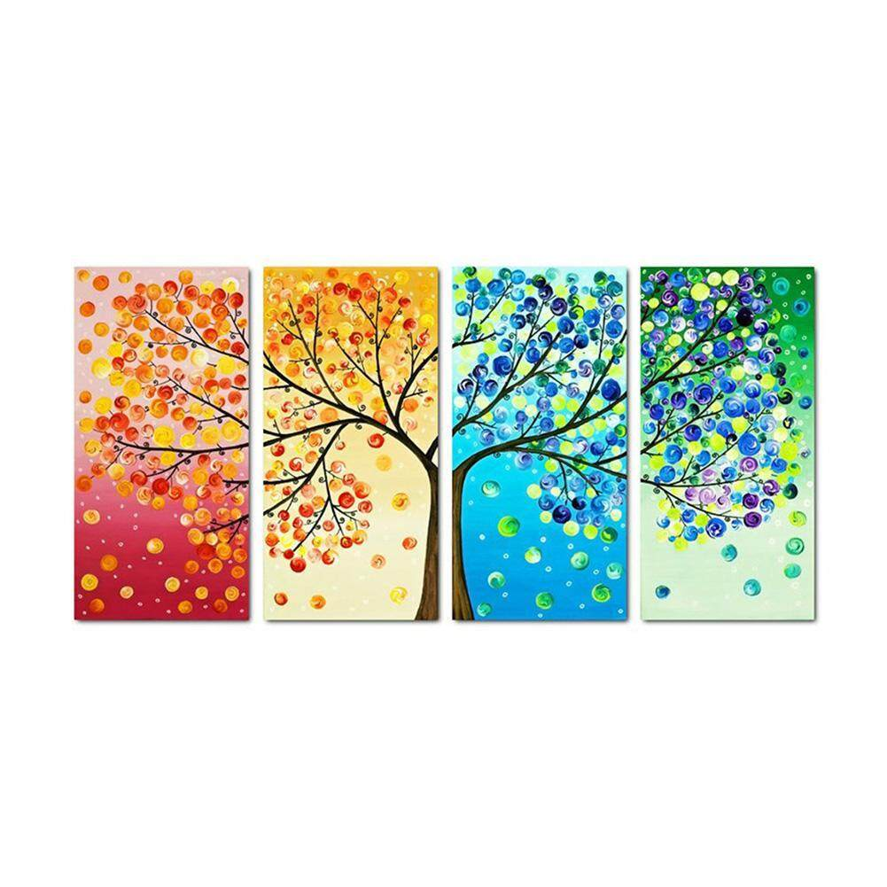 New Arrival Colorful Tree 5D DIY Full Drill Diamond Painting 4-pictures Combination Kit