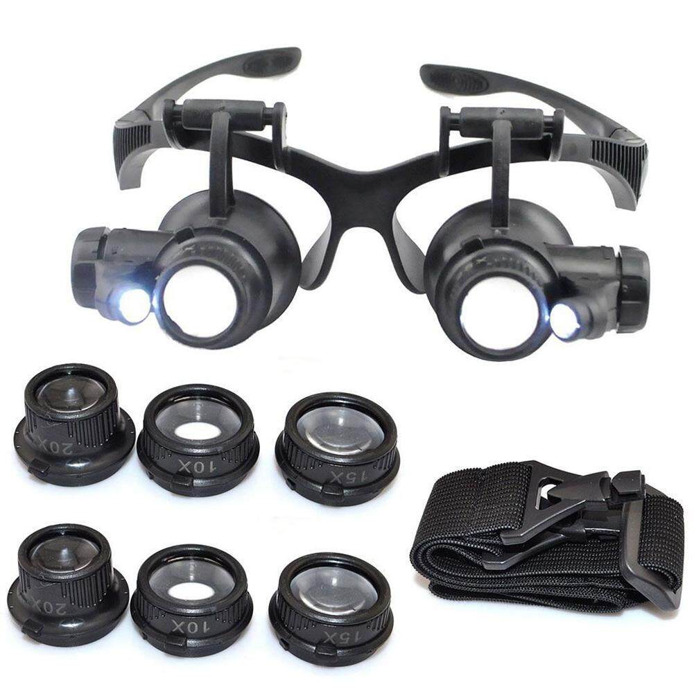 Triumphant Watch Repair Magnifier Magnifying Double Eye Glasses Loupe With LED Light Black Malaysia