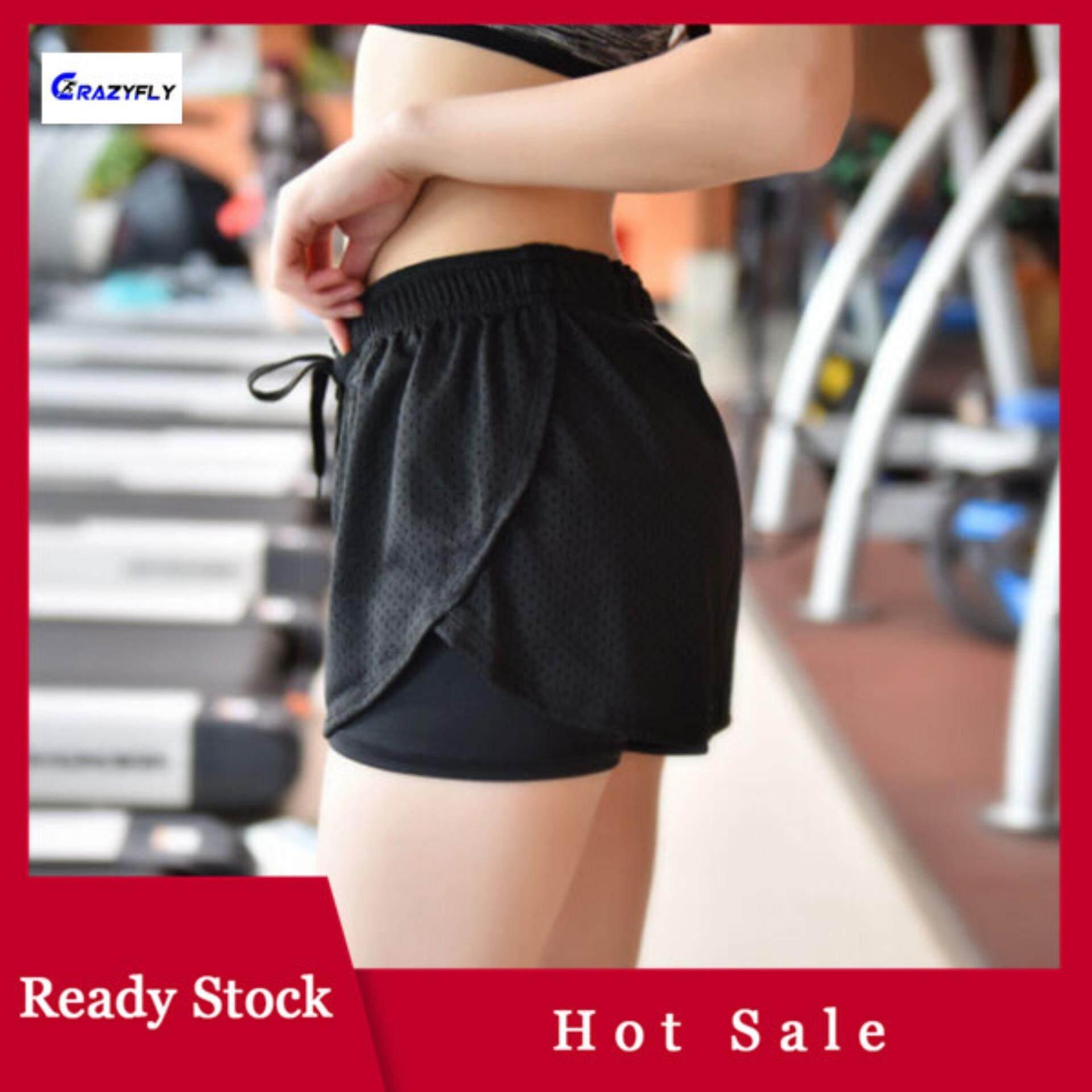 ae3cbf3109d004 Crazyfly Women Sport Fitness Yoga Shorts 2 In 1 Quick Dry Athletic Running  Jogging Elastic Waist