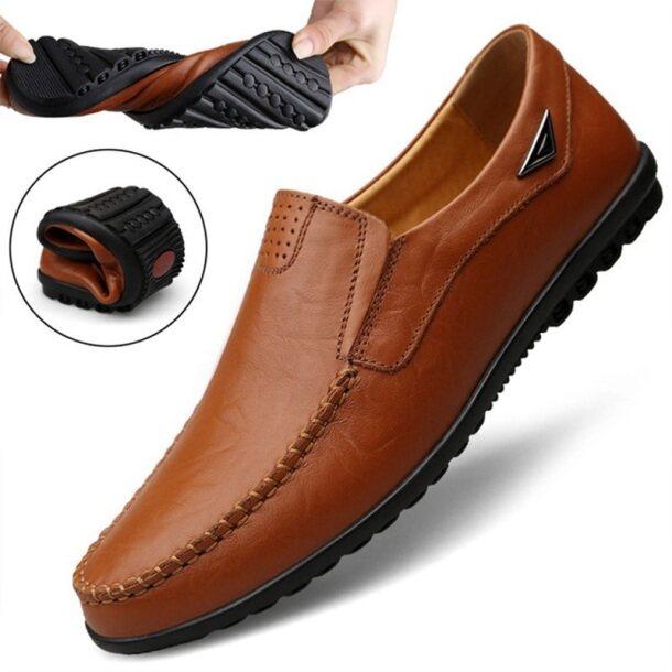 Giày Thường Ngày Cho Nam LAOCHRA Giày Công Sở Da Thật Cỡ Lớn 38-47 Giày Lười Màu Đen Giày Lười Thời Trang Cho Nam giá rẻ