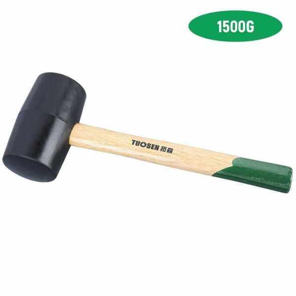 61500 Black Rubber Mallet Dual Face Tile Hammer with Wooden Handle (Black)