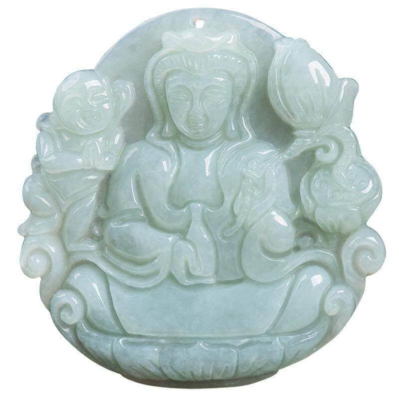 Cadia Cá Tính Băng Ánh Sáng Xanh Ngọc May Mắn Bé Phật Di Lặc Nữ Dây Chuyền