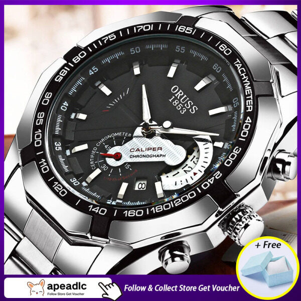 [Official Authentic]Apeadlc ORUSS Automatic Movement Mens Watch Luxury Brand Stainless Steel Business Waterproof Luminous Calendar Non-mechanical Mens Wrist Gold Watches Malaysia