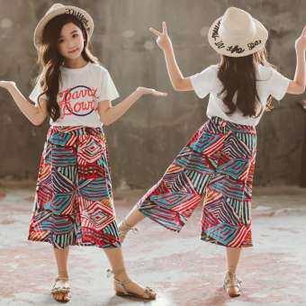 Bbabyme ฤดูร้อนเด็กผู้หญิงพิมพ์เสื้อยืดแขนสั้นเสื้อกางเกงขากว้างชุดลำลองเสื้อผ้า-
