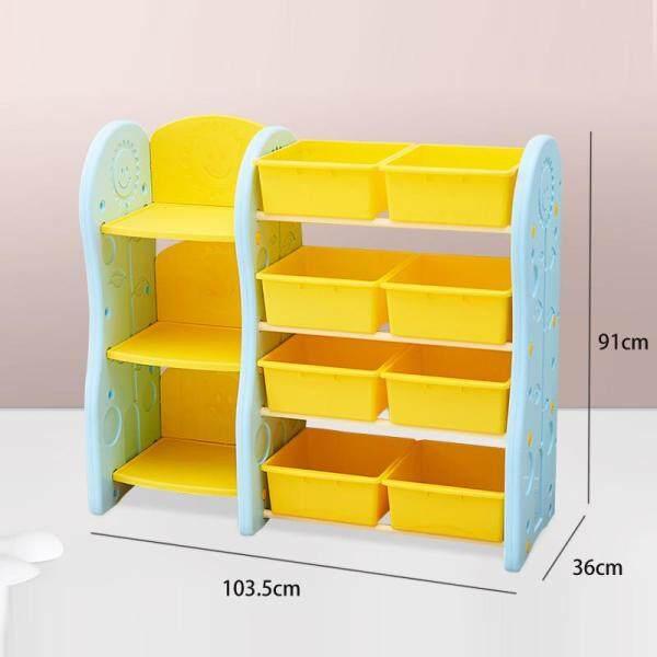 Kids Toy Organizer, Book Racks Bookshelf, Childrens Toys Mini Multi-Function Plastic Box, 4 Shelves and 8 Bins in Fun Colors, Toy Storage Rack