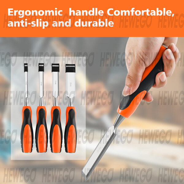 4pcs Wood Chisel Set For Carpentry  Non-slip Handle Woodworking Wood Carving Bench Chisel Sets Sharp Wood Bevel Blades with Steel Strike Cap