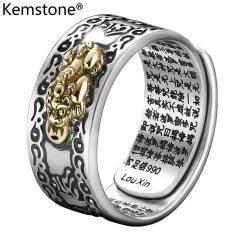 Kemstone S990 เงินพุทธหัวใจสุตราโชคดีปรับPiซิวแหวนเงินผู้หญิงผู้ชายเครื่องประดับ