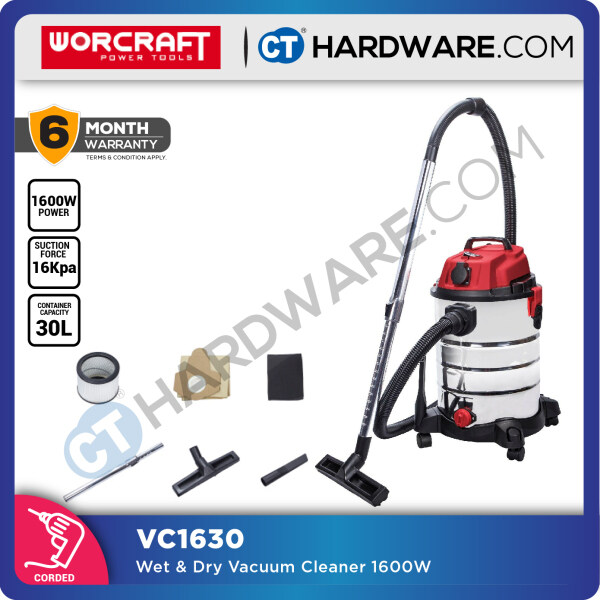 Worcraft VC1630 Wet & Dry Vacuum Cleaner 1600W Cable 4m with Blow & Suction