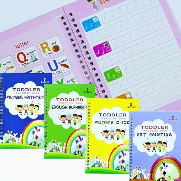4 Books/Set English Reusable Copybook For Calligraphy Learn Alphabet Children Handwriting Practice Books Baby Libros Toy For Kid Malaysia
