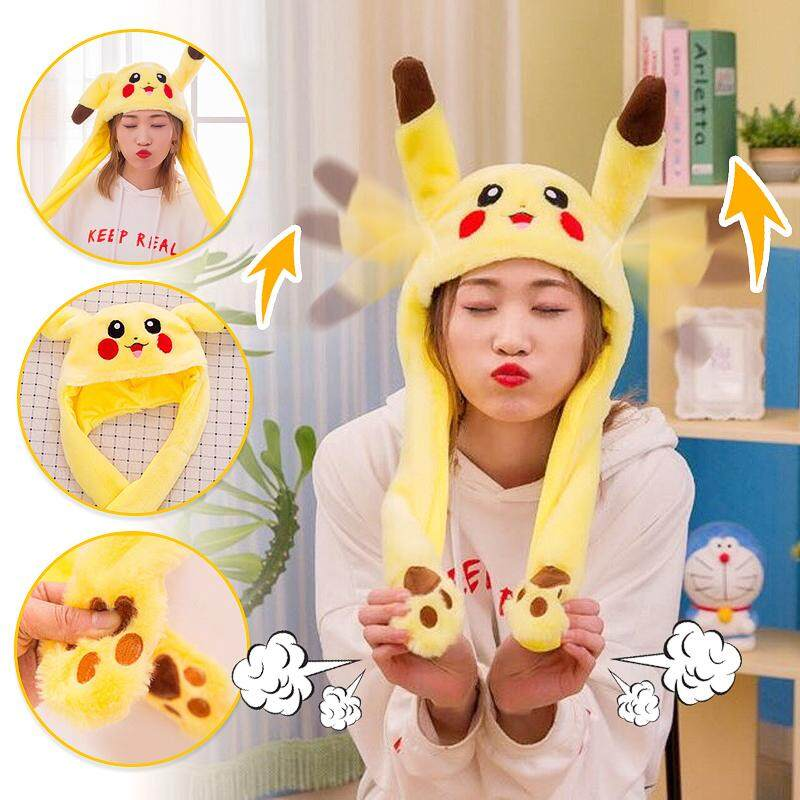 Cute Animal Plush Hat Rabbit Pikachu Ear Moving Cap Dancing Toy Scarf Ears And Paws Hat Cosplay Party Accessories By Autoleader.