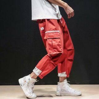 Qiu Dong Quần Yếm Quần Ống Rộng Phong Cách Hip Hop Ins Chức Năng Logo Nổi Tiếng Hán Fengguo Sang Trọng Cho Nam, Nam thumbnail