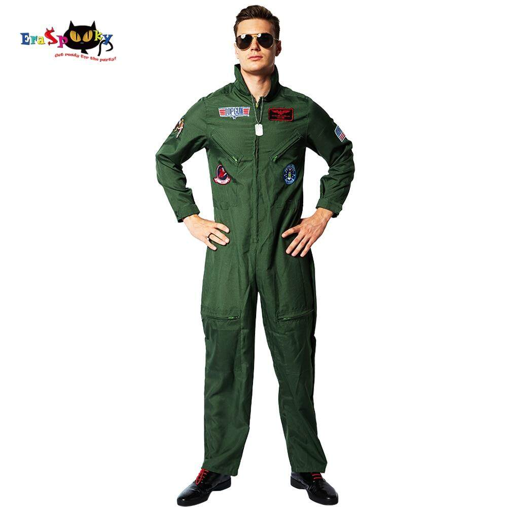 2019 American Airforce Uniform Army Green Military Pilot Cosplay Halloween Costumes For Men Adult Spaceman Jumpsuit