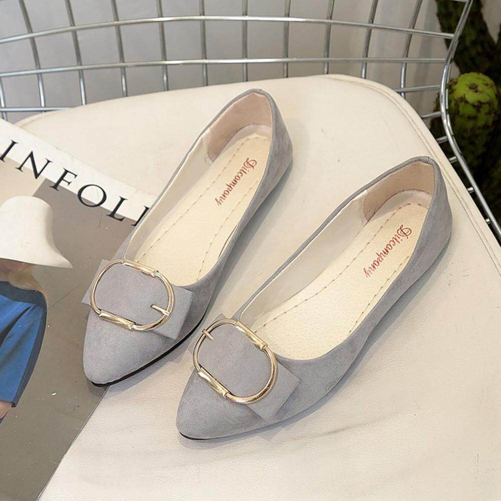 85a3a8fc83 2019 GG Appealing Fashion Women Suede Belt Buckle Flat Heel Pointed Toe  Casual Shoes