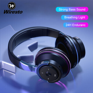 Wiresto Over the Ear Headphone Wireless Foldable Headset LED Breathing Lights Earphones Bluetooth 5.1 Headphone Stereo Headset Noise Reduction Headphone Fold-able Design Wired Wireless Stereo Headband Support TF Card thumbnail