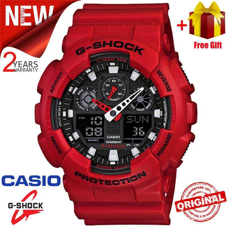 Promotional original Casio G Shock_GA-100B-4A mens digital Duo W / time 200M waterproof and shockproof waterproof world time LED automatic light Wist digital 2 year warranty fashion casual men and women sports watch Malaysia