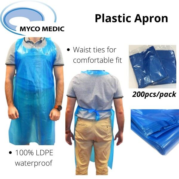 200pcs Blue Plastic Apron (Sleeveless) / Waterproof / Medical / Food Preparing Hygiene / Cleaning / Gardening / DIY projects [READY STOCK]