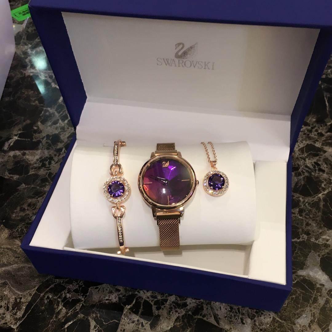 Original_Schwarovski present Girlfriend first choice Ladies watches Bracelet necklace one set for sale Malaysia