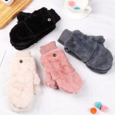 igtx Thời trang Phụ nữ Găng tay lông thú giả sang trọng Găng tay chống gió Nhung dày ấm áp Găng tay mùa đông mềm co giãn Loại lật Găng tay ấm hơn