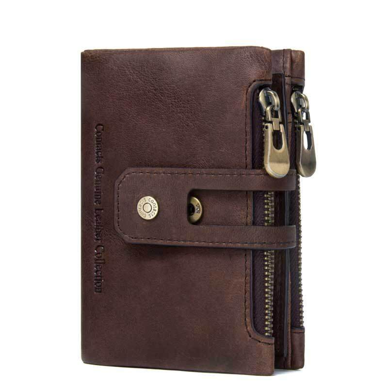 97a1e6567a3a9c 100% Genuine Leather Rfid Wallet Men Crazy Horse Wallets RFID Blocking  Wallet Coin Purse Short